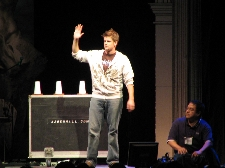 Jared Hall performing illusions