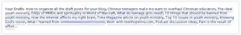 Wordpress draft posts