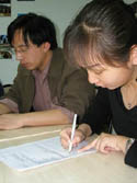 Chinese students studying