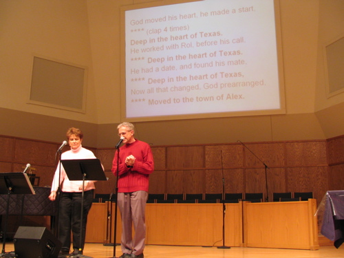 Pastor Rol and Joyce leading a funny Texas song