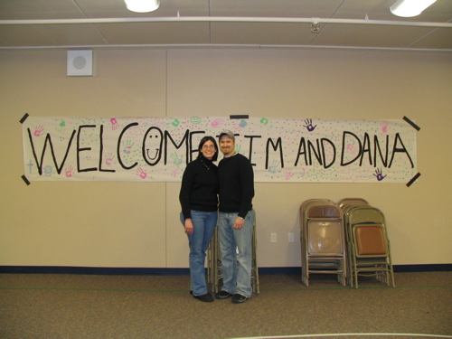 In front of our welcome sign