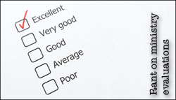 My rant on ministry evaluations and key result areas