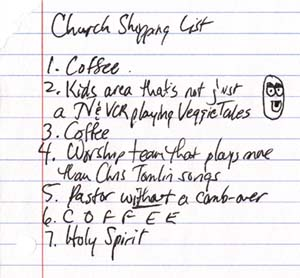 Church shopping list